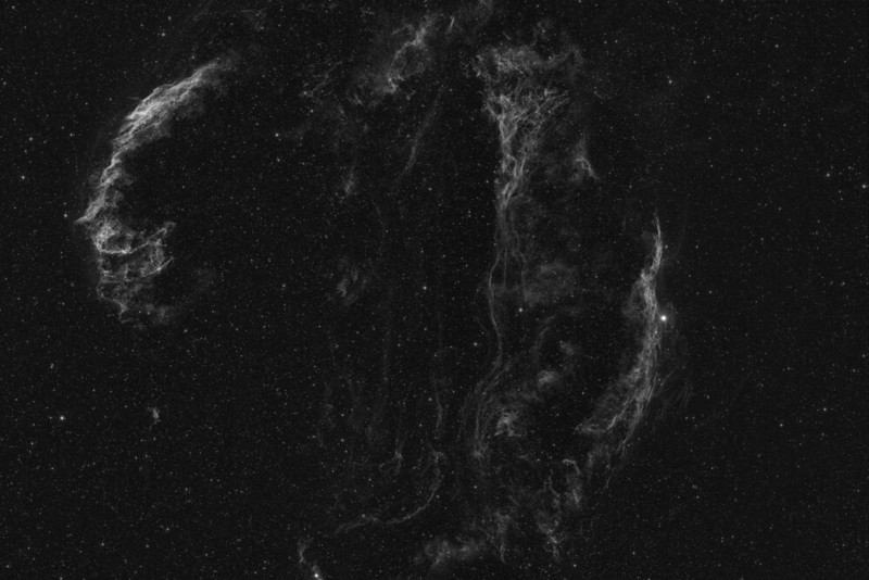 Veil-complex Re-shoot - in Ha<br /> <br /> Ha - 6 x 30 min @-30C<br /> 20,20,20 Calibration frames<br /> <br /> Date: 6/25/11<br /> <br /> Telescope: Takahashi FSQ-106ED with CAA<br /> Mount: Losmandy G11 Gemini with Ovision Worm<br /> Guider: Meade DSI Pro through Astrodon MMOAG with 2 Pixel Dither<br /> CCD: Finger Lakes Instruments ML11002 CCD, with 65mm shutter<br /> Fiter Wheel: Finger Lakes Instruments CFW-2-7<br /> Filters: Baader 50.8mm Hydrogen Alpha<br /> <br /> Software: MaximDL, Registar, Photoshop CS3 with Carboni & GXT<br /> Location: Light polluted back yard in El Paso, Texas<br /> <br /> Polar Alignment: Polar Scope 0nly