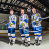 Michael Quinn, left, Cody Kunyk and Colton Beck will return as seniors to lead the Nanooks in 2013 as the team makes its initial foray into the tough WCHA (Western Collegiate Hockey Association).  Filename: ATH-13-3818-75.jpg