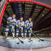 Michael Quinn, left, Cody Kunyk and Colton Beck return as seniors to lead the Nanooks in 2013 as the team makes its initial foray into the tough WCHA (Western Collegiate Hockey Association).  Filename: ATH-13-3818-69.jpg