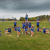 UAF cheerleaders pose in front of the SRC on the Fairbanks campus.  Filename: ATH-13-3943-29.jpg
