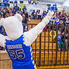 The Nanook mascot gets the crowd energized before the Nanooks hosted the rival UAA Seawolves in the Patty Center.  Filename: ATH-13-3700-16.jpg