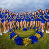 UAF cheerleaders pose in front of the SRC on the Fairbanks campus.  Filename: ATH-13-3943-143.jpg