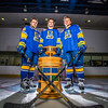 Colton Beck, left, Michael Quinn, center, and Cody Kunyk return as seniors to lead the Nanooks in 2013 as the team makes its initial foray into the tough WCHA (Western Collegiate Hockey Association).  Filename: ATH-13-3818-33.jpg
