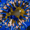 The 2014 Nanook cheerleaders pose in the Patty Gym.  Filename: ATH-14-4044-28.jpg