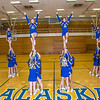 The 2014 Nanook cheerleaders pose in the Patty Gym.  Filename: ATH-14-4044-44.jpg