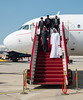 Disembarking Cooperate A319 at Abu Dhabi Aviation Expo 2014