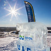 An ice carving donated by Doyon Utilities stands near the top of the Hurlbert Nanook Terrain Park on a bluebird February day on the Fairbanks campus.  Filename: CAM-14-4088-12.jpg