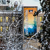 "A large banner hangs from the Gruening Building fire escape on the Fairbanks campus.  <div class=""ss-paypal-button"">Filename: CAM-14-4039-84.jpg</div><div class=""ss-paypal-button-end""></div>"