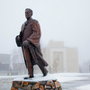 The statue of Charles Bunnell stands alone after a freak early winter rain storm closed campus due to icy roads.