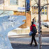 A Nanook ice sculpture of appears to threaten pedestrians on the Fairbanks campus.  Filename: CAM-14-4116-7.jpg