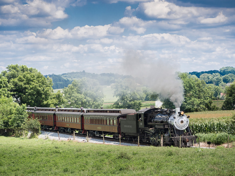 Steam Locomotive Pulling Tourist Train
