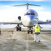 The Nanook was on hand at the Fairbanks International Airport to help taxi Joy, the name of a 727 jet recently donated by FedEx to UAF's aviation program.  Filename: DEV-13-3747-46.jpg