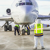 The Nanook was on hand at the Fairbanks International Airport to help taxi Joy, the name of a 727 jet recently donated by FedEx to UAF's aviation program.  Filename: DEV-13-3747-49.jpg