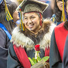 Marjorie Tahbone prepares to walk across the stage after earning her degree in Alaska Native studies.  Filename: GRA-13-3827-0555.jpg