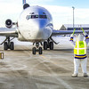 The Nanook was on hand at the Fairbanks International Airport to help taxi Joy, the name of a 727 jet recently donated by FedEx to UAF's aviation program.  Filename: DEV-13-3747-44.jpg