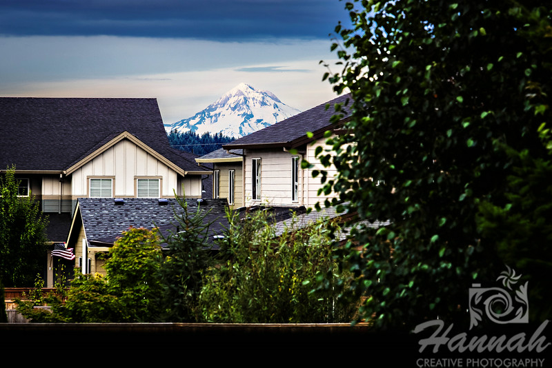 Image of Mount Hood as seen from the suburbs... it is the tallest mountain in Oregon<br /> <br /> © Copyright Hannah Pastrana Prieto