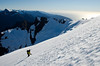 Sunny slopes and perfect snow conditions on the upper snowfield, Pembroke Glacier