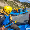 Participants in a UAF Outdoor Adventures day-long raft trip paddle down the Nenana River.  Filename: OUT-12-3492-183.jpg