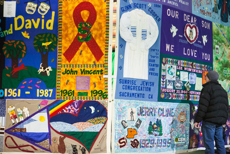 The AIDS memorial quilt is displayed at the Wood Center for three days during the World Aids Day activities sponsored by UAF Student Activities Department and UAF Social Work program in Dec. 2012.  Filename: LIF-12-3668-24.jpg