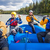 Participants in a UAF Outdoor Adventures day-long raft trip paddle down the Nenana River.  Filename: OUT-12-3492-111.jpg