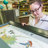 Liz Humrickhouse, assistant professor of library science, looks through various pieces in the map collection on the fifth floor of the Rasmuson Library.  Filename: LIF-14-4045-67.jpg