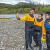 "International students Jabez Chinnam, Neha Agrawal and Mohit Paryani pose for a group selfie before a UAF Outdoor Adventures raft trip down the Nenana River in June, 2014.  <div class=""ss-paypal-button"">Filename: OUT-14-4211-008.jpg</div><div class=""ss-paypal-button-end""></div>"