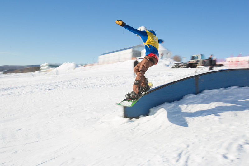 Students and community members turned out to participate in the snowboard competition on the newly dedicated Hulbert Nanook Terrain Park during the 2014 UAF Winter Carnival  Filename: LIF-14-4088-66.jpg