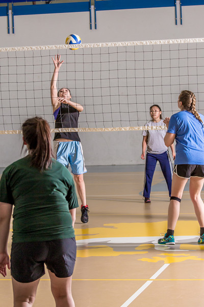 Intramural volleyball action on a Tuesday night at the Student Recreation Center.  Filename: LIF-14-4111-216.jpg