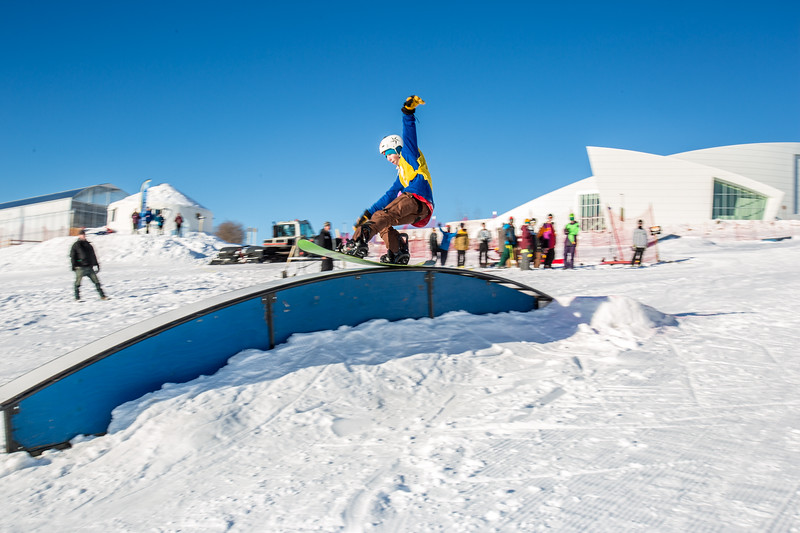 Students and community members turned out to participate in the snowboard competition on the newly dedicated Hulbert Nanook Terrain Park during the 2014 UAF Winter Carnival  Filename: LIF-14-4088-65.jpg
