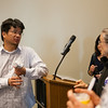 Alex Hwu answers questions after Summer Sessions' cultural night kick-off lecture on Taiwan.  Filename: LIF-12-3431-30.jpg
