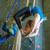 Undergraduates Teal Rogers, left, and Miriam Brooks practice their silk climbing skills in the SRC.  Filename: LIF-13-3819-3.jpg