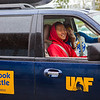 Lawrence Matchian takes the front seat of the Nanook Shuttle provided by New Student Orientation after recently arriving from his village in Chevak, Alaska, Sunday August 26, 2012 at the Fairbanks International Airport.  Filename: LIF-12-3511-148.jpg