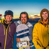 Student employees Logan Pitney, left, Frank Dayo and Cal Whitehill are all smiles after testing some of the new features of UAF's terrain park.  Filename: LIF-13-3746-87.jpg