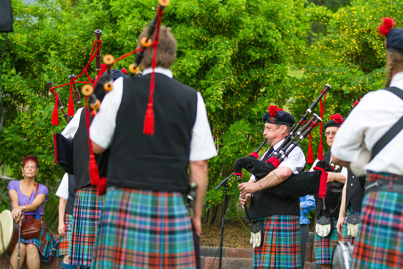 Fairbanks Red Hackle Pipe Band kicks off Summer Sessions' Music in the Garden series at the Georgeson Botanical Garden.  Filename: LIF-12-3426-4.jpg