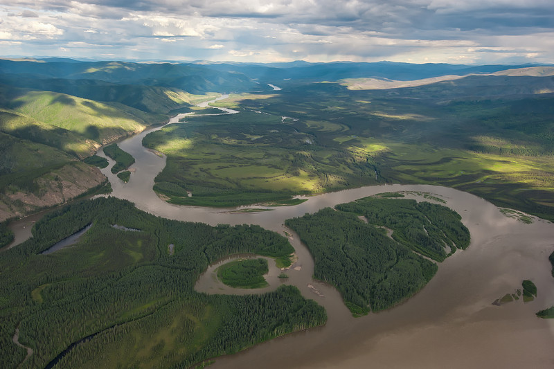 Aerials of the Yukon River Waterhshed. White River. Stewart River. Yukon Territory, Canada.