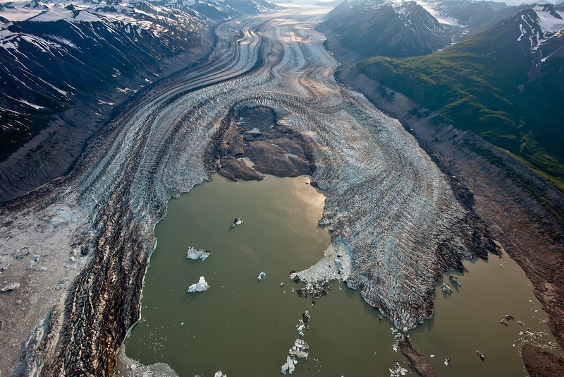 Aerial Photography of glaciers in Kluane National Park.