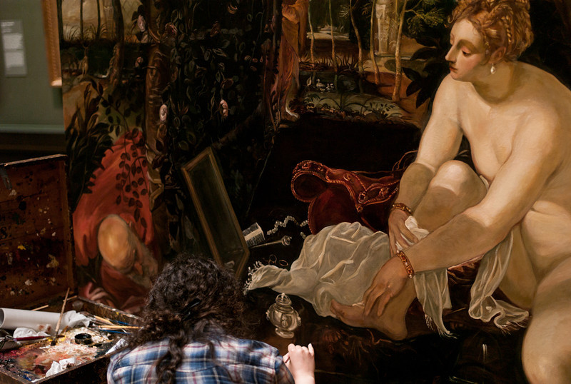 "Painting by Jacopo Tintoretto, Title ""Susanna Bathing"" ca 1555-56"
