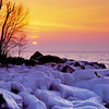 This shoreline of Lake Superior in Tettegouche State Park is a great place to view the sunrise in the winter.