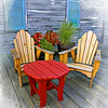 Lake Sumter Landing Chairs and Red Table, The Villages