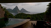 The Pitons are seen from the Jade Mountain resort in Saint Lucia on Friday, September 3, 2010.