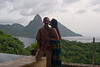 Scott and Laura Cook pose with the Pitons in the background on their 25th anniversary at the Jade Mountain resort in Saint Lucia on Friday, September 3, 2010.