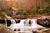 Silky Waterfall in Front of Glade Creek Mill at Babcock State Park in WV