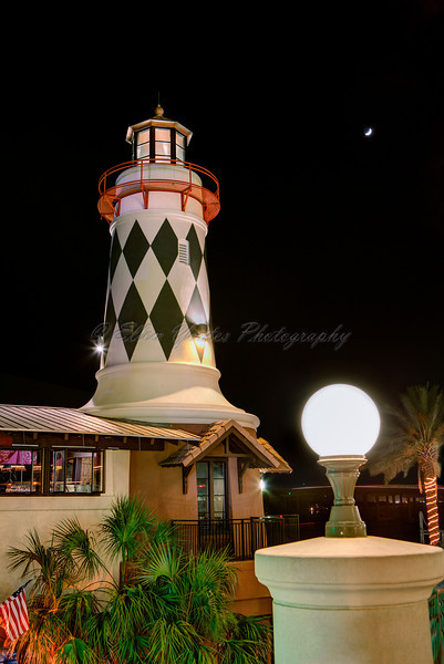 "<b>The Harbor Lighthouse</b>  This is a lighthouse on The Harbor in Destin, the bottom is ""Harry T's"" restaurant."