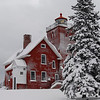 Two Harbors Light Station after the winter storm.