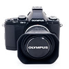 The E-M5 with the Olympus 9-18mm f/4-5.6 with an off-brand lens hood.