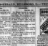 1891 - Hillsboro News-Herald death of Rebecca Black Laymon