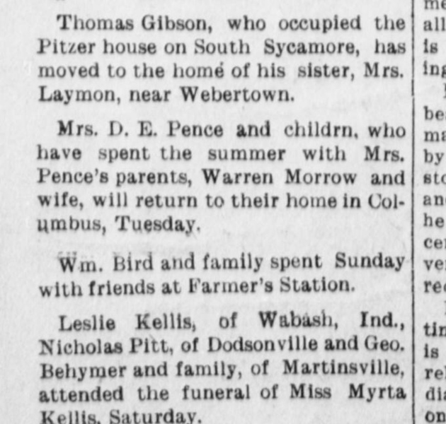 1911 - Nov 6 Thomas Gibson moves in with sister