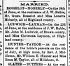 1893 - Hillsboro News-Herald - John Ludwick marries Christena Laymon