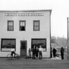 Abe, Ethel and Norman Loomer in front of Waterways hotel in Waterways AB<br /> Not sure if they owned or managed it.