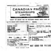 Steamship ticket receipt for Nachman, Sara and other family members to come to Canada in 1926 to join Abe and family already here.